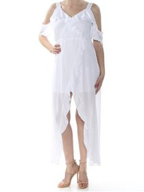 XOXO Womens Juniors Ruffled Cold Shoulder Maxi Dre