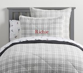 Pottery Barn Plaid Sherpa Backed Comforter