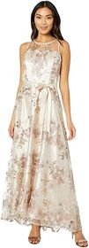 Tahari by ASL Sleeveless Embroidered Halter Long G