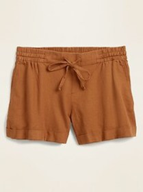 Mid-Rise Linen-Blend Shorts For Women - 4 inch ins