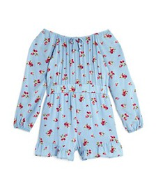 AQUA - Girls' Floral Ruffle Romper, Big Kid - 100%