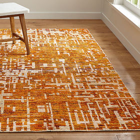Crate Barrel Celosia Orange Hand Knotted Rug 8'x10