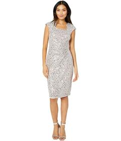 Tahari by ASL Cap Sleeve Sequin Stretch Lace Side