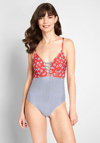 ModCloth ModCloth The Jenny One-Piece Swimsuit Red