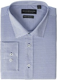 Nick Graham Printed Tile CVC Stretch Dress Shirt