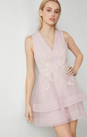 BCBG Tulle Applique Dress