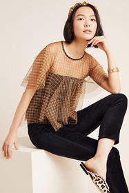 Anthropologie Mitzi Tulle Top
