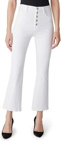 J Brand Lillie High-Rise Crop Flare in Blanc