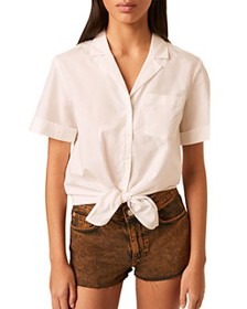 FRENCH CONNECTION - Rhodes Cotton Tie Front Shirt