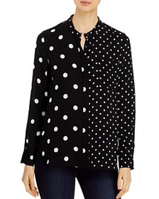 Elie Tahari - Nina Sheer Mixed-Dot Blouse