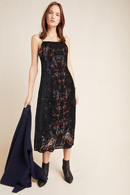 Anthropologie Talia Burnout Velvet Slip Dress