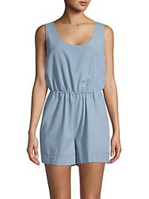 French Connection Zaina Chambray Romper LIGHT BLUE