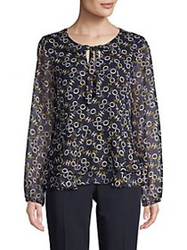 Tommy Hilfiger Chain-Print Long-Sleeve Top MIDNIGH