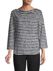 JONES NEW YORK Drape Neck Cotton-Blend Top BLACK W