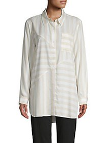JONES NEW YORK Striped Button-Down Shirt SAND STRI