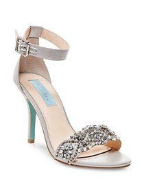 Betsey Johnson Gina Rhinestone Sandals SILVER