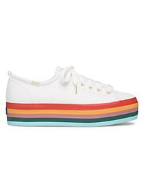 Keds Triple Rainbow Leather Platform Sneakers WHIT