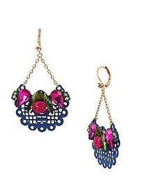 Betsey Johnson Fabric Rose Scalloped Drop Earrings