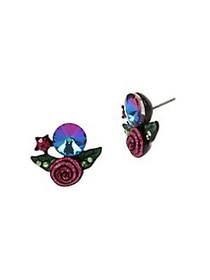 Betsey Johnson Rose Cluster Crystal Stud Earrings