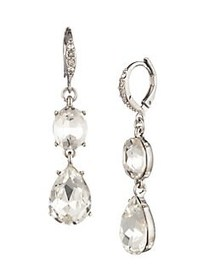 Givenchy Silvertone & Crystal Double Drop Earrings