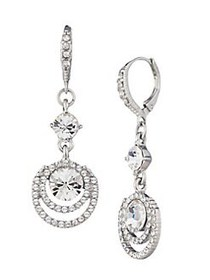 Givenchy Silvertone & Crystal Drop Earrings SILVER