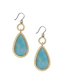 Lucky Brand Two-Tone & Amazonite Drop Earrings GOL
