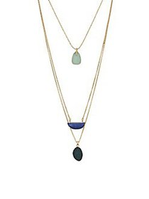 Lucky Brand Goldtone & Crystal Layered Necklace GO