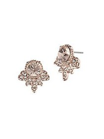 Marchesa Rose Goldtone and Glass Stone Button Earr
