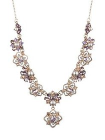 Marchesa Goldtone, Faux Pearl and Glass Stone Y-Ne