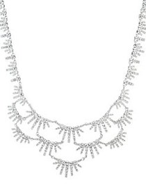 Givenchy Rhodium-Plated & Crystal Collar Necklace