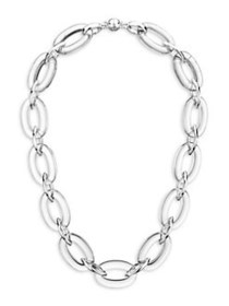 Gold and Honey Link Oval & Marquise Necklace SILVE