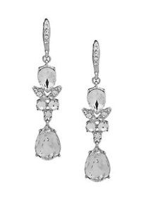 Givenchy Crystal Double Drop Earrings SILVER