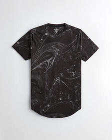 Hollister Marble Curved Hem T-Shirt, BLACK MARBLE
