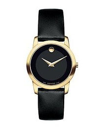 Movado Ladies Museum Classic Goldtone Watch BLACK