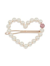 Betsey Johnson Faux Pearl Heart Hair Pin PINK