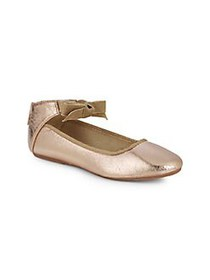 Kenneth Cole Girl's Metallic Bow Ballet Flats ROSE