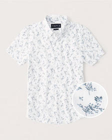 Super Slim Short-Sleeve Button-Up Shirt, WHITE FLO