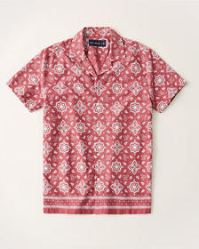 Short-Sleeve Camp Collar Button-Up Shirt, CORAL PR