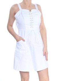 Xoxo Juniors White Sleeveless Lace-Up Cotton Fit &
