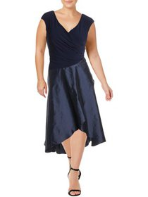Adrianna Papell Womens Plus Party Cocktail Midi Dr