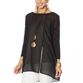 """As Is"" WynneLayers Mixed Media Dolman-Sleeve Tuni"