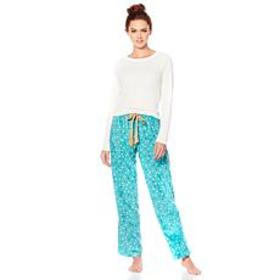 Maidenform Ribbed Top and Fleece Pant Pajama Set