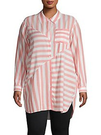 JONES NEW YORK Plus Striped Button-Front Shirt PIN