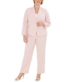 Plus Size Striped One-Button Jacket and Pant Suit