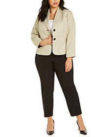 Plus Size Tweed-Jacket Pants Suit