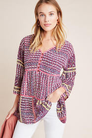 Anthropologie Lilyana Tiered Silk Blouse