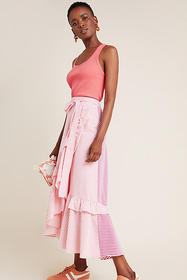 Anthropologie Penny Ruffled Midi Skirt