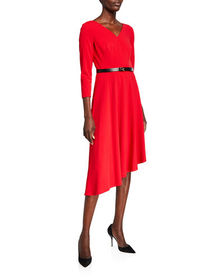 CALVIN KLEIN Belted 3/4-Sleeve Dress with Asymmetr
