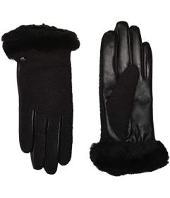 UGG Fabric Leather Shorty Tech Gloves with Sherpa