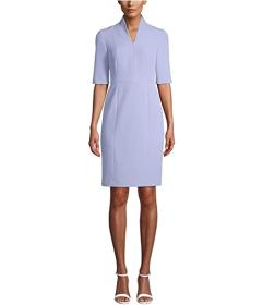 Anne Klein Zip Front 3\u002F4 Sleeve Sheath Dress
